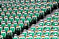 Wolfsburg, Germany, March 20, 2019: grandstand seats in the Volkswagen Arena in Wolfsburg before the international soccer game between Germany and Ser...