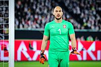 Wolfsburg, Germany, March 20, 2019: Serbian goalkeeper Marko Dmitrovic during the international friendly match between Germany and Serbia at Volkswage...