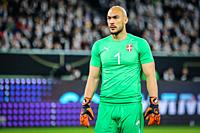 Wolfsburg, Germany, March 20, 2019: Serbia national team goalkeeper Marko Dmitrovic during the international friendly game between Germany and Serbia ...