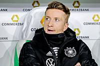 Wolfsburg, Germany, March 20, 2019: Germany national team footballer Marco Reus sitting on the bench during the international soccer game Germany vs S...