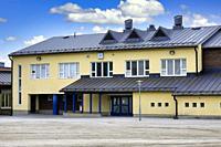 Alhainen school, Alhaisten Koulu, Salo, Finland in early August. Alhainen school is a primary school teaching grades 1-6.