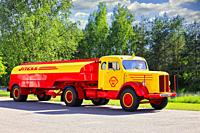 Vintage Scania-Vabis Shell fuel tanker truck year 1952 parked on a yard on a sunny day of summer. Salo, Finland. June 12, 2020.
