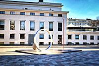 Faith Hope Love, artwork by Eva Lange, celebrates the 100 years of history and the connection between Finland and Sweden. Erottaja, Helsinki, Finland,...