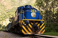Aguas Calientes, Peru-June 3, 2015: Moving train from Aguas Calientes to Cuzco in Inca's way.