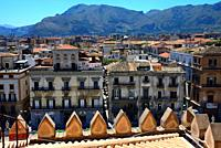 view for historic part of Palermo from Palermo Cathedral, in front facades along Via Vittorio Emanuele, in far background dome of San Francesco Saveri...
