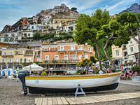 small wooden boat in dry dock, Positano, Amalfi Coast, Italy.