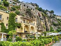 houses on hillside, Positano, Amalfi Coast, Italy.