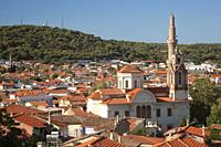 Overview to the Saatli Cami Mosque, old Hagia Ianni church converted into a mosque, at the town center, Ayvalik, Ancient Kydonies, Balikesir, Aegean R...