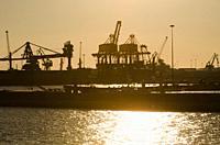 cranes on the Taanto's docks.
