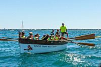 Crew of rowers in Taranto, Italy.