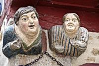 Vannes and his wife, Morbihan, Brittany, France. Vannes and his wife is a sign polychrome stone representing the busts of a couple and probably dating...