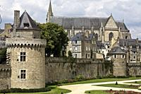 Vannes, view of the Connétable tower and its ramparts. Morbihan, Brittany, France.