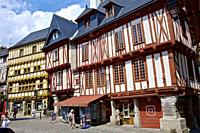 Place Henri 4, half-timbered heritage of Vannes. Morbihan, Brittany, France.