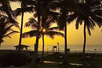 Sunrise over Indian Ocean at Hilton hotel in Salalah. Oman. .