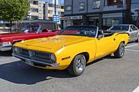 1970s Plymouth Barracuda convertible.