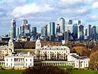 Canary Wharf skyline, the Old Royal Naval College and the Queen's House - London, England.