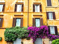 Facade building in Largo del Tritone - Rome, Italy.