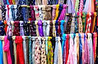 foulards for sale in the market - Cambridge , England.