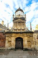 King's College Sundial Clock Tower from Senate House Passage - Cambridge, England.