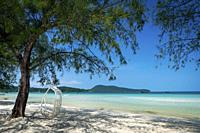 Saracen Bay beach in tropical paradise Koh Rong Samloen island near Sihanoukville in Cambodia.