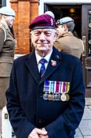 An Old Soldier Attends The Remembrance Day Service In Lewes High Street, Lewes, East Sussex, UK.