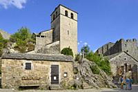 """France, Aveyron, La Couvertoirade, listed """"""""Un des plus beaux villages de France"""""""", Saint-Christol church and castle."""