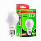 Led lamp with package box isolated on white. Energy efficient light bulb. 3d illustration.