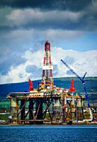 Oil rig at the iFab fabrication yard at Invergordon on the Cromarty Firth, Scotland.