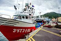 Fishing boats in the harbour at Puerto de Santona, Cantabria, Spain.