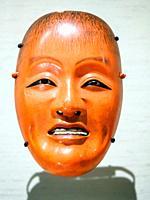 Drunken sprite (shojo) mask for Noh drama by Himi Munetada (1800-1900). Wood, gesso (white paint mixture), colour.
