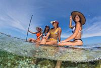 Group Beautiful Women on Paddle Board enjoying Sports in sunny day. Travel detination Caribbean Beach in Los Roques Venezuela.