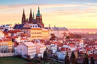 Sunrise view of Prague castle from Petrin Hill, Czech Republic.