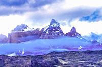 Paine Horns Three Granite Peaks Clouds Torres del Paine National Park Patagonia Chile.