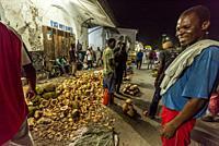 Tavel to Zanzibar. Open night market.