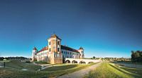 Mir, Belarus. Castle Complex Mir. Cultural Monument, UNESCO World Heritage Site. Famous Landmark And Popular Destination. Panorama Panoramic View.