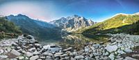 Tatra National Park, Poland. Panorama Famous Mountains Lake Morskie Oko Or Sea Eye Lake In Summer Morning. Five Lakes Valley. Beautiful Scenic View. E...
