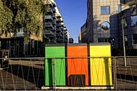 Stockholm, Sweden Color-coded refuse containers in Liljeholmskajen.
