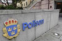 Stockholm, Sweden A sign for police at the police headquarters on Kungsholmen.