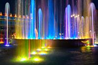 Fragment of a beautiful multi-colored fountain installed near the administration building of the city of the Anapa resort.