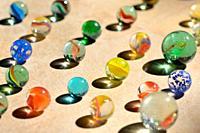 Closeup Glass marble balls and shadows.