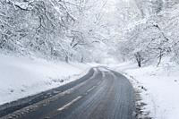 A road through a snowy woodland scene. Burrington Combe in the Mendip Hills, North Somerset, England.
