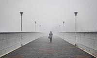 Odessa, Ukraine. Mother-in-law bridge in Odessa, Ukraine, on a foggy autumn day.