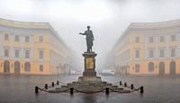 Odessa, Ukraine. Monument to Duke Richelieu in Odessa, Ukraine, on a foggy autumn day.