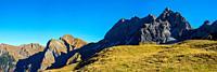 Laufbacher-Eck-Weg, Rädlergrat am Himmelhorn, 2111m, Schneck, 2268m, Himmeleck, 2145m, Großer Wilder, 2379m und Kleiner Wilder, 2306m, Allgäuer Alpen,...