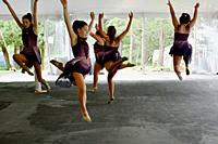 Dancers Performing During Dance Recital, Tent Venue Due to Corona Virus, Geneseo, New York, USA.