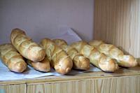 Bread loaves in bakery Spain.