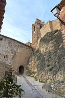 Castielfabib Valencia province Spain on May 21, 2020: Walled village in the Rincon de Ademuz county.