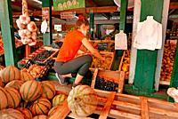 A young woman arranges the fruit at a local fruit stand.