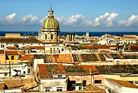 Historic part of Palermo, tower of San Giuseppe dei Teatini church and Mediterranean Sea in background, Palermo, Sicily, Italy, Europe