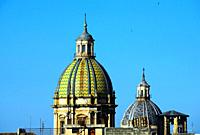 Old town of Palermo, first left dome of Chiesa di San Giuseppe dei Teatini (Chiesa di San Giuseppe dei Padri Teatini) , second from left dome of Chies...